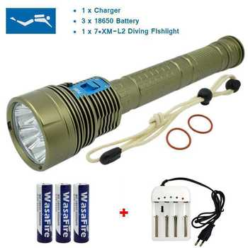 Super Bright 15000 Lumens LED Diving Flashlight 18650 Underwater Waterproof 100m Dive Lamp Torch with Charger for Spearfishing