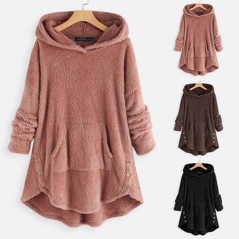 ZANZEA 2019 Women Hooded Hoodies Casual Sweatshirts Long Sleeve Pullover Hoody Female Asymmetrical Fluffy Outerwear Plus Size 7