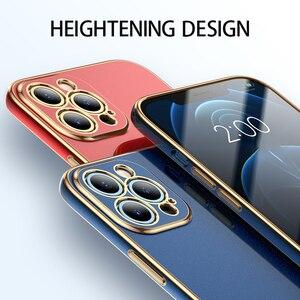 Image 3 - יוקרה אופנה עדשת הגנת סיליקון זהב ציפוי טלפון סלולרי מקרה עבור iPhone 12 11 פרו מקס מיני Fundas כיסוי Coque פגז