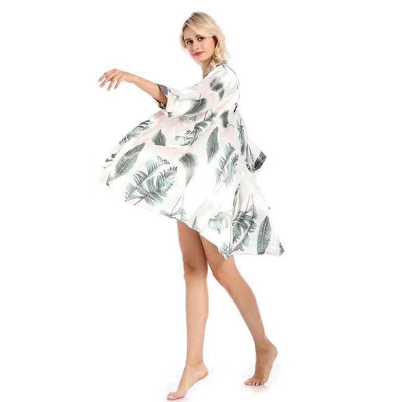 Elbise sıcak hırka kadın pijama simülasyon ipek baskı büyük boy ev hizmeti bornoz yeni gecelik kadın pijama