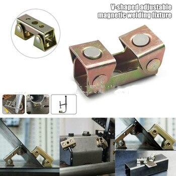 цена на 2pcs V Shaped adjustable Magnetic Welding Clamp Holder Suspender Fixture v type Magnetic Tab Holder MagTab Welding Fixture Clamp