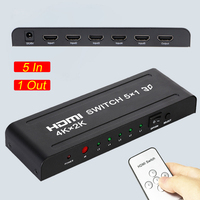 4K 30Hz 5x1 HDMI Switch 5 Port HDMI Switch 5 In 1 Out HDMI 1.4 Switcher with Remote Support 4Kx2K 3D 1080P for Xbox PS4 PS3 TV