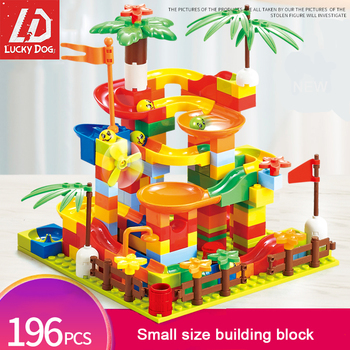 Building Blocks Toys Marble Race Run Small Size Funny Slide Bricks Have Base Plate Educational Constructor Toys for Children funlock duplo marble run plastic slide 43p blocks crystal snowice building toys for children