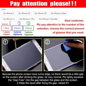 Image 5 - 3 pièces couverture complète verre trempé sur pour iPhone 11 Pro Max protecteur décran iPhone X XR XS Max Film de protection en verre bord incurvé