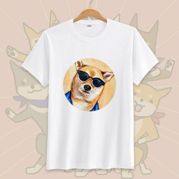 Sunglasses Dog Graphic T-shirt Men/women Newest Short Sleeve Tshirt White T Shirt High Quality Tee Tops Size 3xl Free Shipping