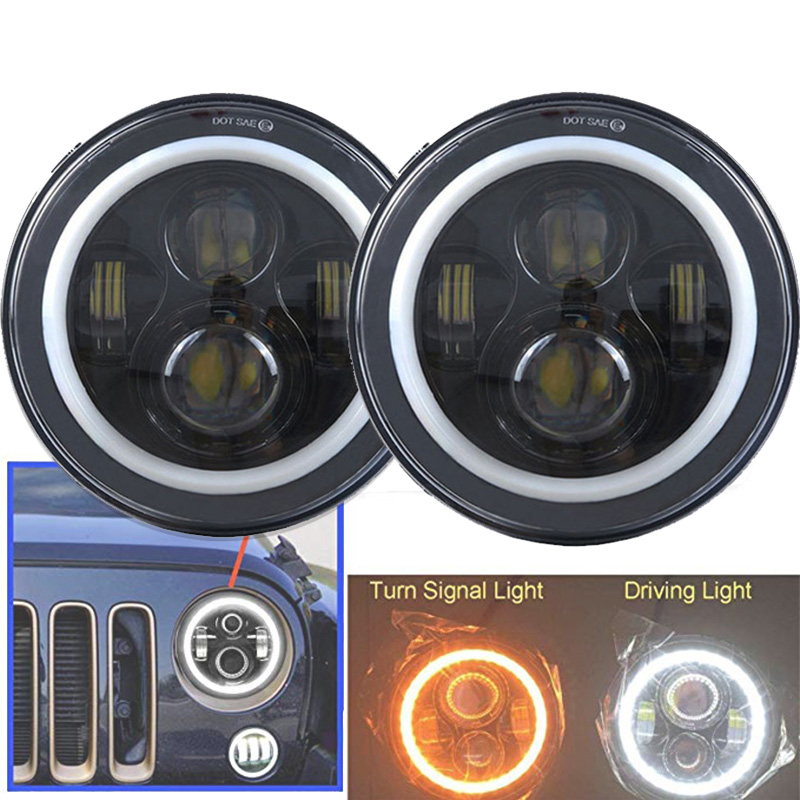 2xFor Lada Niva 7inch Led Headlight Hi/Low Beam Light Halo Angle Eyes DRL Headlamp For Jeep Wrangler Off Road 4x4 suzuki samurai