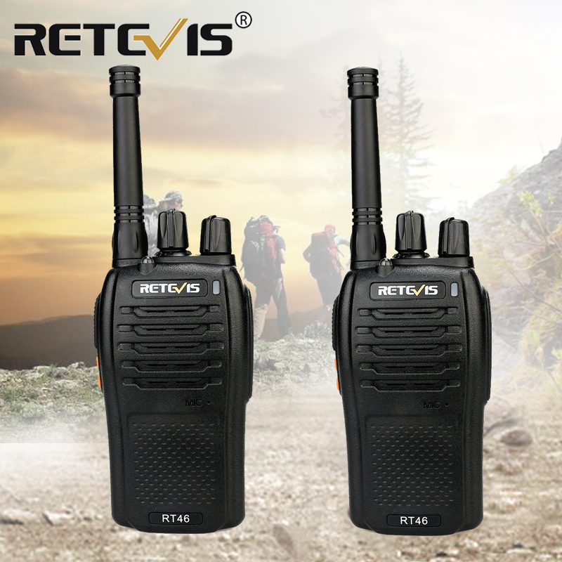 A Pair RETEVIS RT46 Walkie Talkie PMR Radio PMR446/FRS Portable Two Way Radio VOX Micro-USB Charging  Li-ion (or AA) Battery