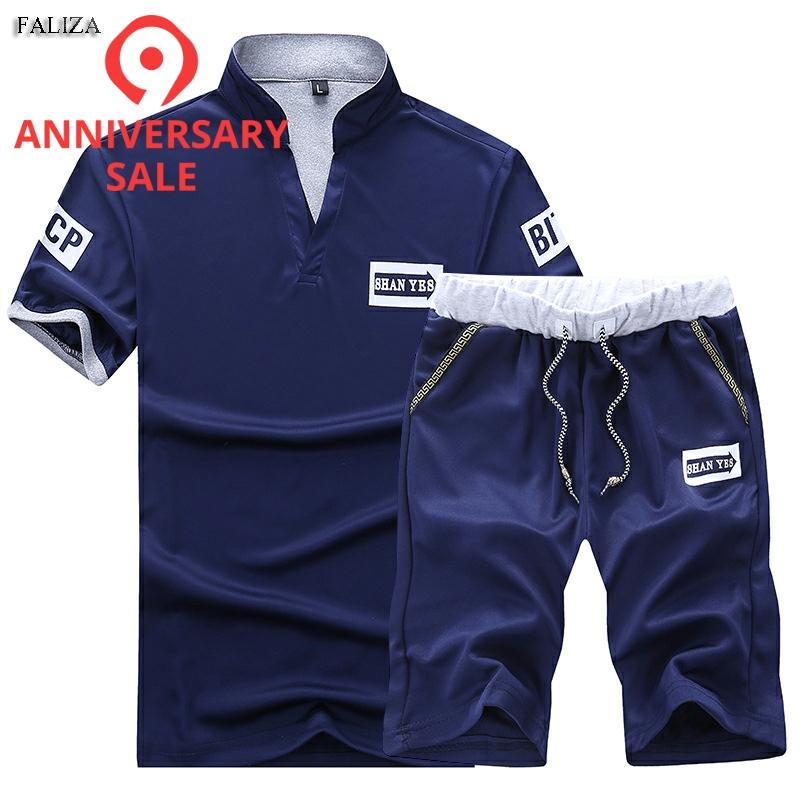 FALIZA 2018 Fashion Suit Male Tracksuit Men Shorts Summer Brand Tshirt Men Letter Printed Sportsuit Set Men Top Men Shirt Set101