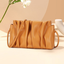women bag Genuine Leather Flaky clouds Flap Ruched Casual Solid Shoulder