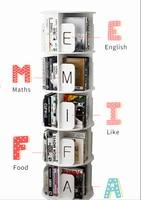 360 degree revolving alphabetic classification bookshelf household children student simple floor storage picture book rack