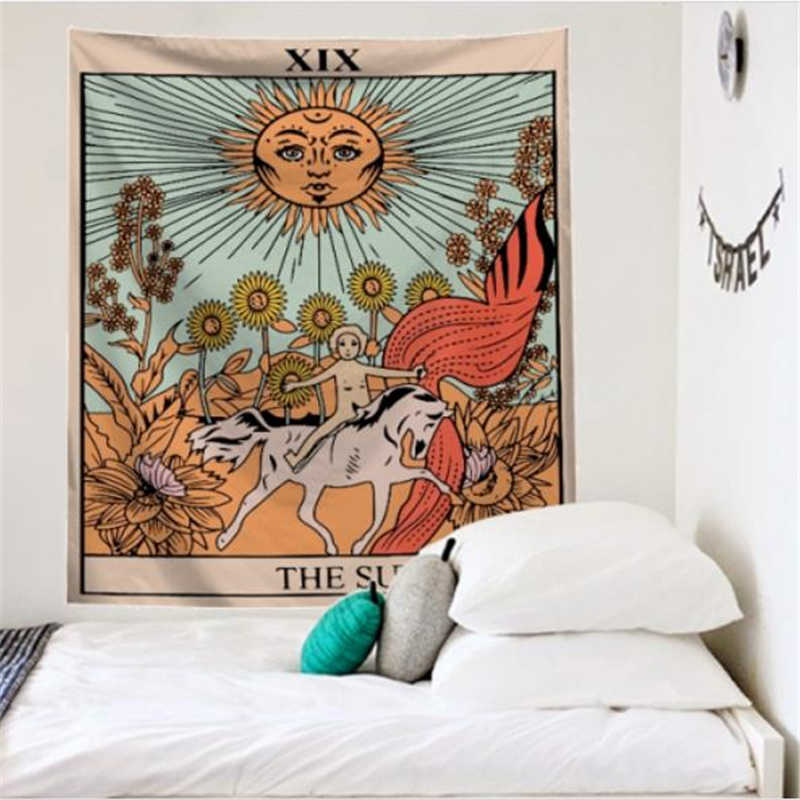 Mandala Tarot Tapestry Wall แขวน Moon Phase เปลี่ยน Tapestries ตกแต่งห้องนอนผ้าคลุมเตียงโยน Sun Moon Wall Decor 95x73 ซม.