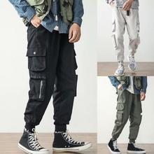 Мужчины повседневный мульти карманы щиколотка завязки шнурок длинные карго брюки свободные брюки