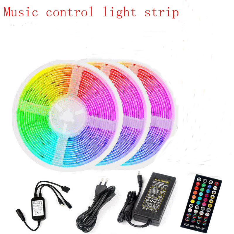 5M 10M 15M 20M LED strip 5050 40key time music control RGB 30led / m Strip LED Light Flexible Ribbon Stripe 12V Adapter image