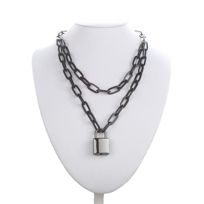 Двухслойная цепочка с замком, ожерелье в стиле панк 90 s, серебряная цепочка, цветной висячий замок, ожерелье с кулоном, женское модное готическое ювелирное изделие - Окраска металла: black