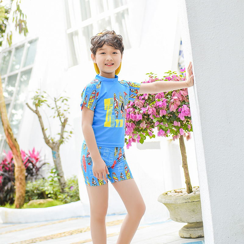 2019 New Style Hot Sales KID'S Swimwear Short Sleeve Shorts Stand Collar Two-piece Swimsuits Feather Hot Springs Beach BOY'S Swi