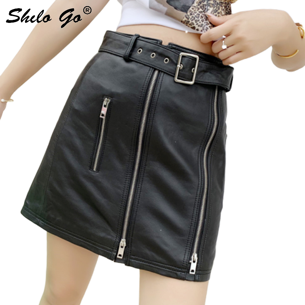 Genuine Leather Skirt Black Highstreet Moto Buckle Belted Zip Front Sheepskin A Line Skirts Women Autumn Winter Casual Skirts