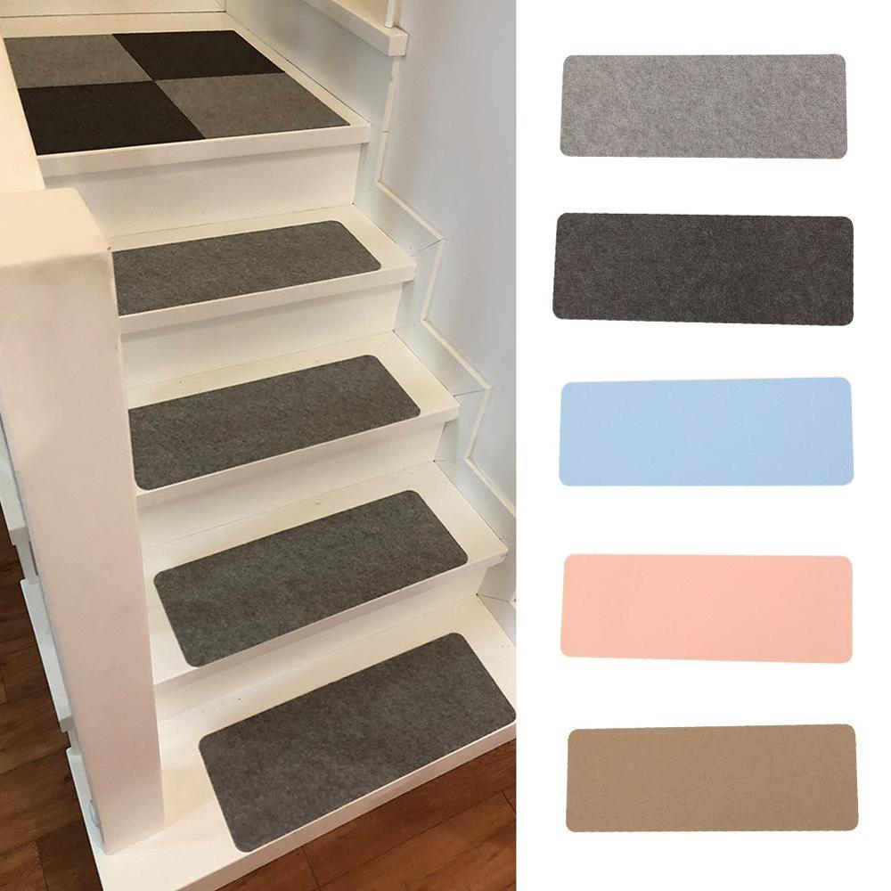 Stair Tread Carpet Mats Self Adhesive Stair Mat Non-Skid Stair Step Carpet Step Rug Protection Cover Washable Stair Mat