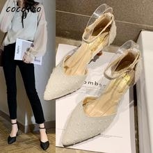 2020 Spring New Korean Version Of The Wild Wild High-heeled Women's Thin And Sexy Fairy Style With Single Shoes Cat Heel Shoes spring moda mujer 2018 womens high heeled shoes sexy korean version thin heel pointed professional shoes yasilaiya shallow