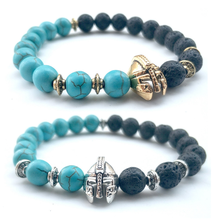gold and silver CZ Roman Warrior Gladiator Helmet Lava Beaded Bracelet Men 2 Colors Emperor Stone Bracelets