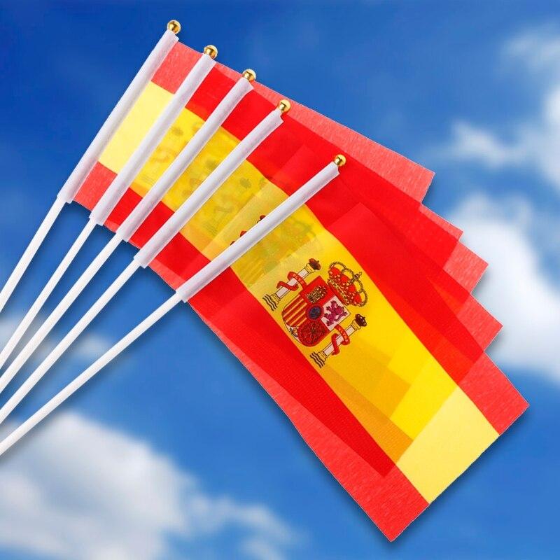 5 шт. испанские размахивающие руки флаги Испании крест баннеры Спорт открытие открытый декор для улицы