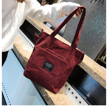 Corduroy Zipper Large Capacity Tote Canvas Shoulder Bag Female Crossbody For Women 2019 High Quality Cotton Messenger