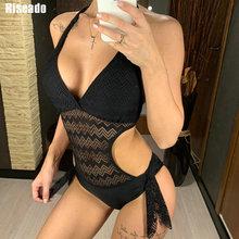 Riseado сексуальные купальники с v образным вырезом, женские Монокини, открытые купальники 2020, новая пляжная одежда с лямкой на шее, кружевные купальные костюмы