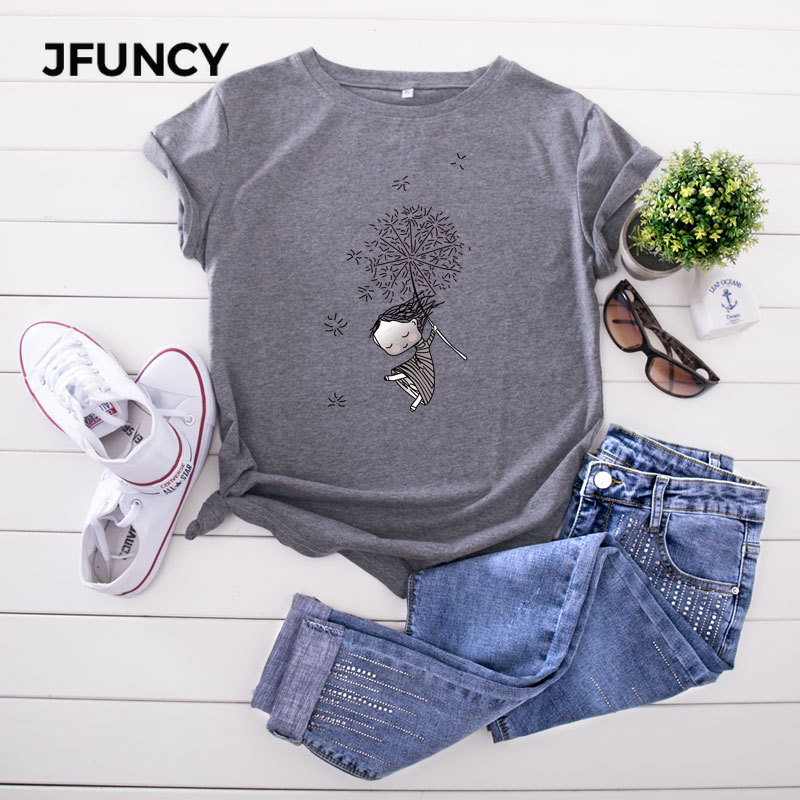 JFUNCY Plus Size 5XL Women T Shirts Fashion Print Short Sleeve Summer Cotton T-Shirt Female Tops Oversized Woman Casual Tshirt 4