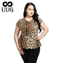 UUG Sexy Leopard T shirt kobiet topy Plus rozmiar letnie tuniki 5XL ubrania dużych rozmiarów pani 6XL kobiet topy i koszulki moda tuniki tanie tanio Rosybeat Poliester Elastan Ruffles Tees Krótki REGULAR ca1159 Jersey Kobiety O-neck Na co dzień 3XL 4XL 5XL 6XL leopard ca1159