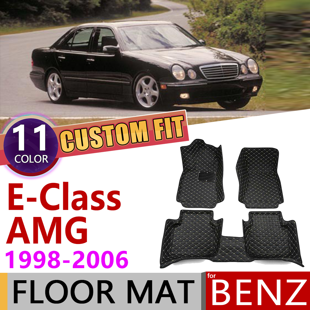Custom Leather Car Floor Mat For Mercedes Benz E Class AMG W210 W211 1998~2006 5seats Foot Pad Carpet Accessories E55 1999 2000