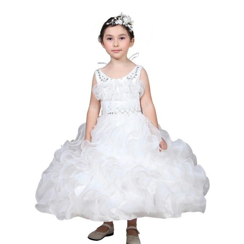 2020 nouvelle mode enfants vêtements enfants robe de mariage fleur fille blanc princesse