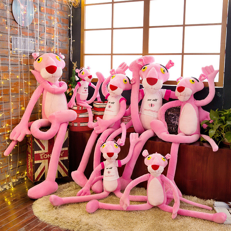 New Pink Panther Plush Toys Pink Leopard Kawaii Gift For Kids Soft Toy Stuffed Doll Brithdays Party Gifts