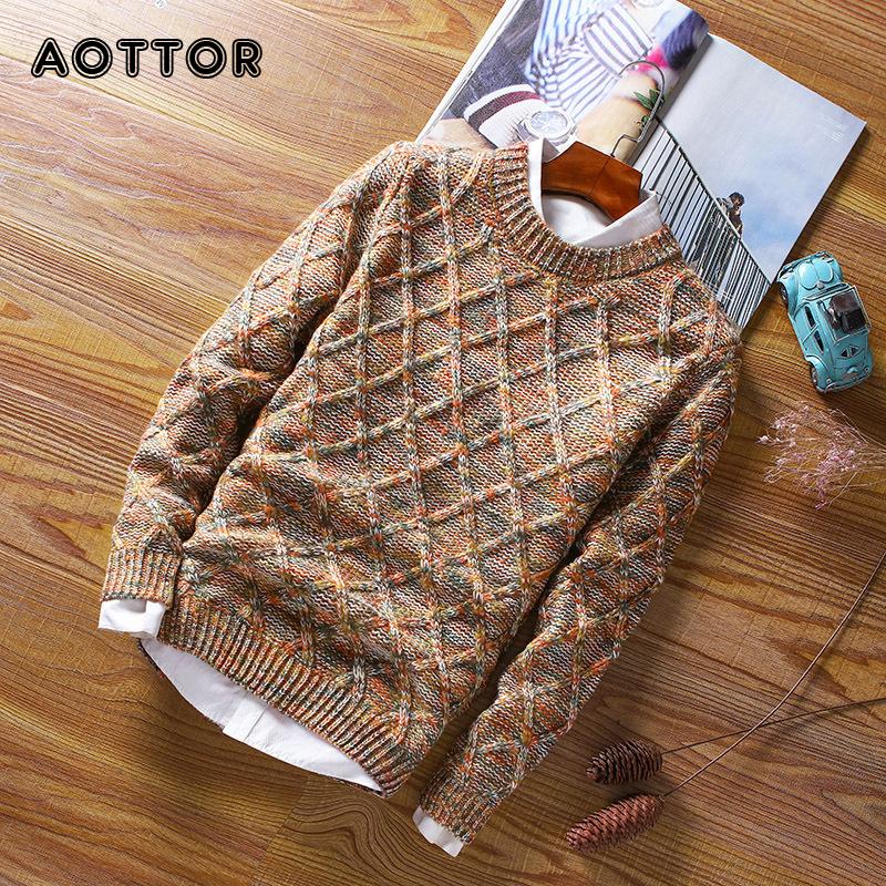 New Men's Sweaters Winter Male Round Neck Pullover Knitwear Sweater Men Casual Wool Slim Pullovers Diamond shaped Korean Style