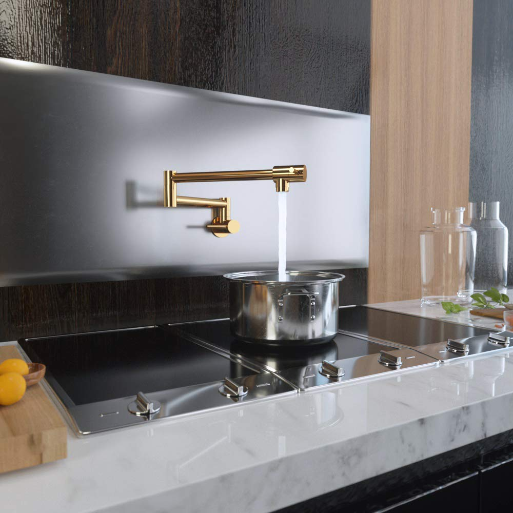 US $84.04 38% OFF|Gold Kitchen Pot Filler Folding Faucet Lead free Brass  Double Joint Swing Arm Sink Faucet Articulating Wall Mount Two Handle on ...