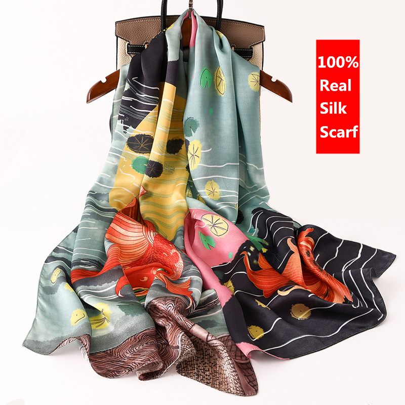 Luxury Brand Designer Women Scarves 100% Real Silk Scarf Long Thin Mulberry Silk Shawl Wrap Spring New Fashion Print Neck Scarf