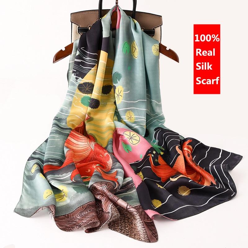Luxury Brand Designer Women Scarves 100% Real Silk Scarf Long Thin Mulberry Silk Shawl Wrap Spring New Fashion Print Neck Scarf