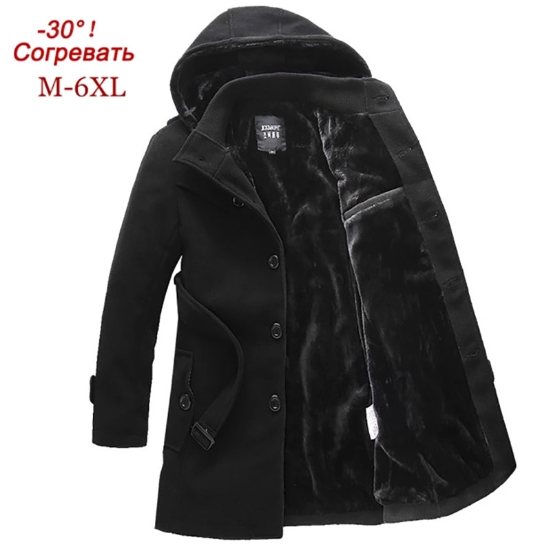 2019Woolen Coatl Mens Winter Thick Jacket Thick Casual Outwear Jackets Velvet Warm Coat High Quality Hooded Plus Size 6XL
