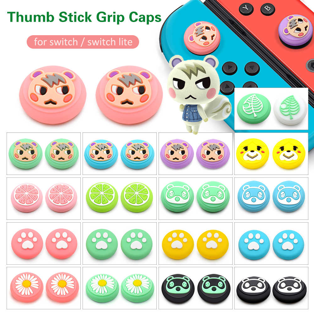 Animal Crossing 4 Pcs Game Karet Thumb Stick Grip Cover untuk Switch Lite Joycon Controller Switch Analog Joy Con Joystick