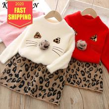 Keelorn Girls Dresses Spring Kids Girls Clothes Long Sleeve Sweater+Leopard Dress Casual 2PCS suit Student Girls Clothing Sets keelorn girls denim dress children clothing casual style girls clothes butterfly embroidery dress kids clothes 2017 spring