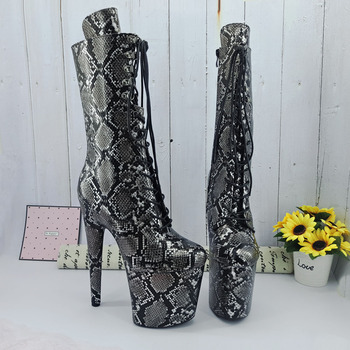 Leecabe  Snake 20CM/8inches Pole dancing shoes High Heel platform Boots closed toe Pole Dance boots jialuowei 20cm heel snake print hologramlace up thigh high pole dance platform faishion boots