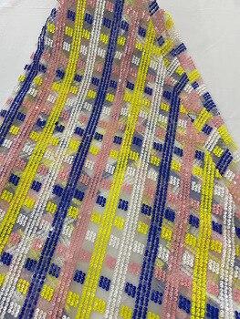 Французская африканская кружевная ткань с блестками 2020 Высококачественная кружевная вышитая нигерийская сетчатая кружевная ткань J40161