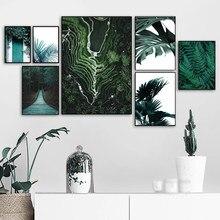Verde lago montanha floresta folhas de banana arte da parede pintura da lona cartazes e cópias nordic fotos parede para sala estar decoração