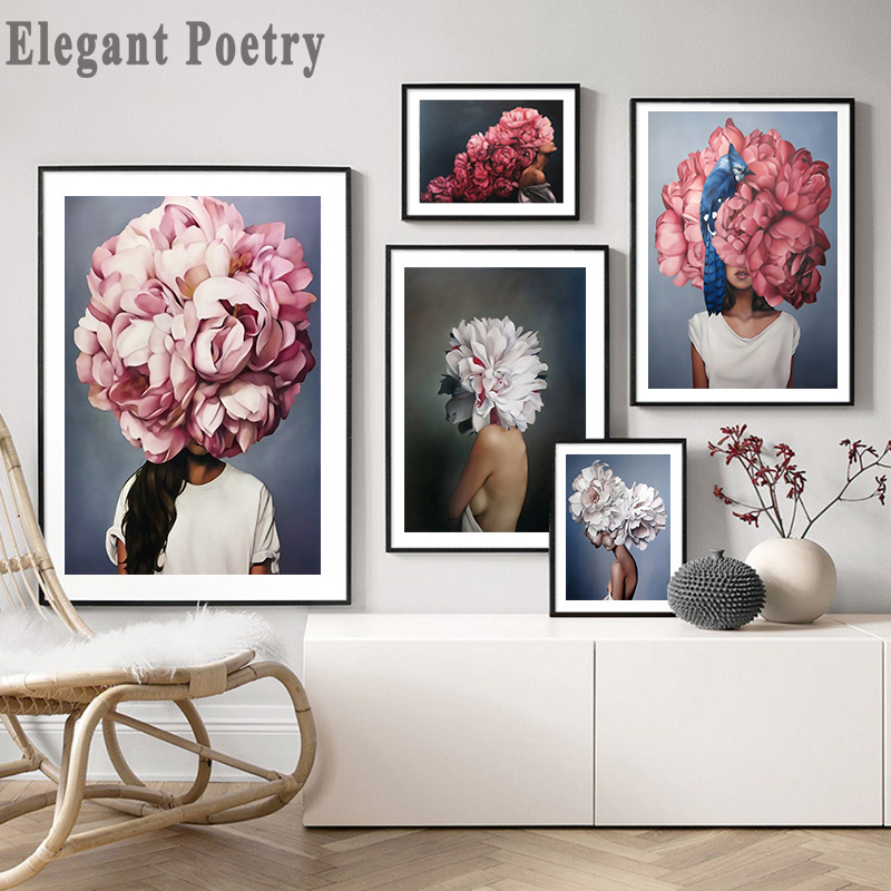 Feather Flower Woman Head Canvas Poster Nordic Abstract Wall Art Print Painting Modern Decorative Picture Living Room Decoration