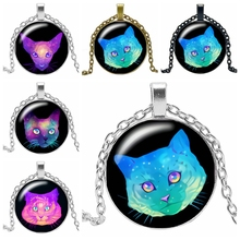 2019 New Hot Cartoon Cute Cat Series Glass Convex Round Pendant Necklace Fashion Popular Jewelry Gift Ladies