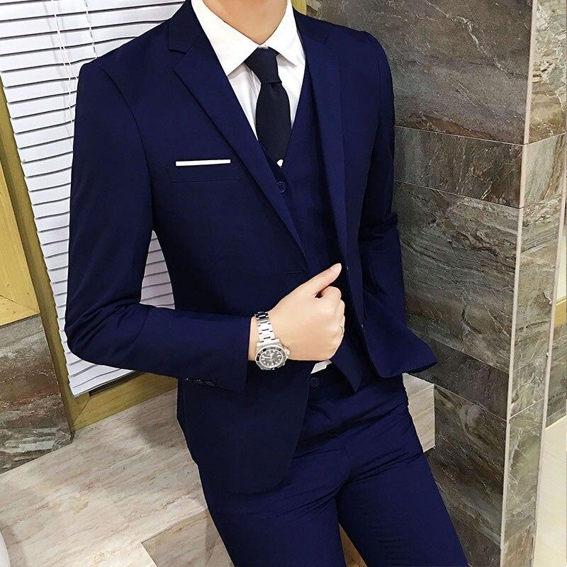 Men's Suit Pieces Set Suit Pants Three-piece Set Waistcoat Casual Small Suit Selectable Shirt
