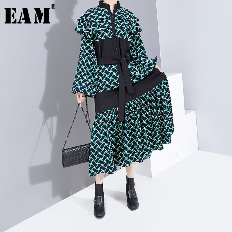 [EAM] Women Pattern Priinted Bandage Long Dress New Stand Collar Long Sleeve Loose Fit Fashion Tide Spring Autumn 2020 1H567