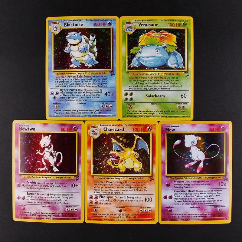 TOMY 5 шт./лот Pokemon Charizard Blastoise Venusaur Mewtwo Мега флеш-карты POKEMON игровая коллекция карт - Цвет: 5PCS