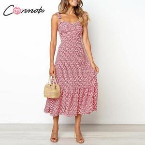 Image 2 - Conmoto 2019 Print Ruffles Mid Summer Dress Women Casual Twist Party Dress Strapless Print Beach Princess Long Dress Vestidos