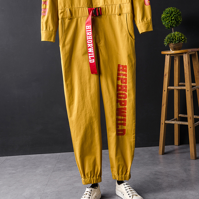 Lettre impression barboteuse Cargo pantalon hommes Multi poches Vintage décontracté combinaison hommes Hip Hop streetwear ceinture salopette pantalon YT80246