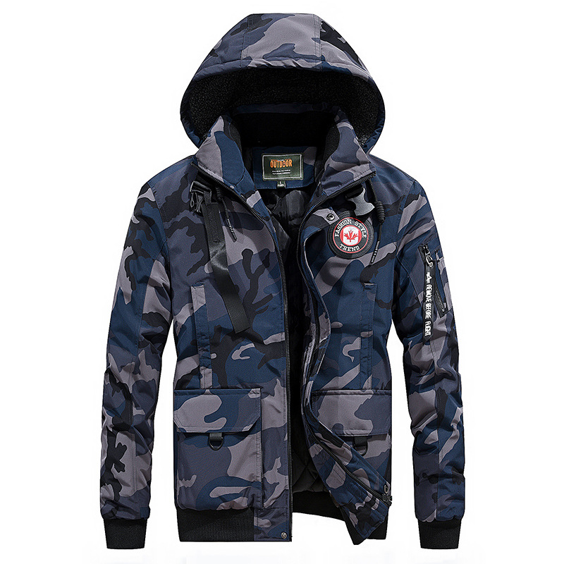 2018 New Style Men'S Wear Winter Thick Warm Hooded Cotton Coat Jacket Camouflage Cotton-padded Clothes MEN'S Outerwear 7858