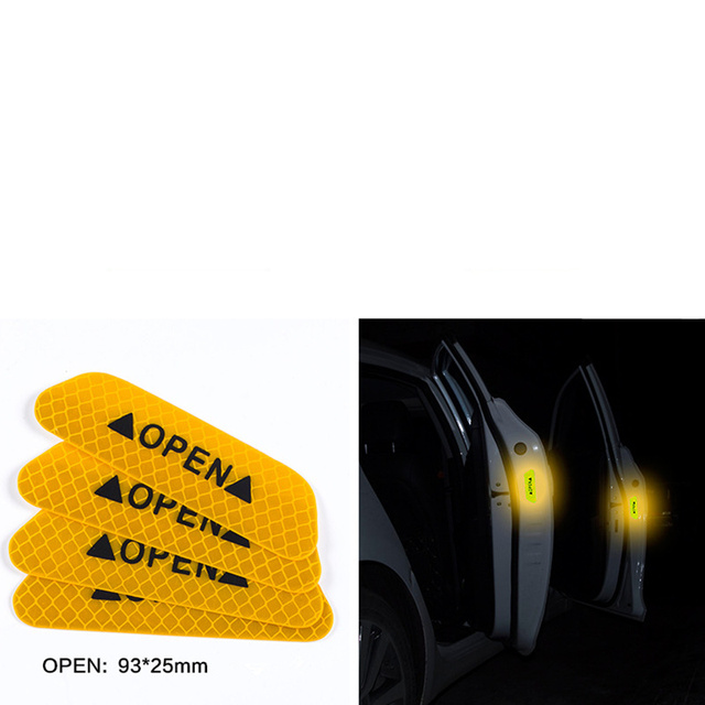 4 Pcs Car Door Safety Warning Reflective Stickers OPEN Sticker For Chery Fulwin QQ Tiggo 3 5 T11 A1 A3 A5 Amulet M11 Eastar